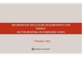 Information Disclosure Requirements for ENERGY: Sector Briefing on Emerging Views