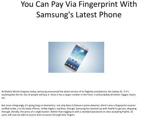 You Can Pay Via Fingerprint With Samsung's Latest Phone