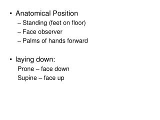 Anatomical Position Standing (feet on floor) Face observer Palms of hands forward laying down: