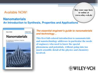 The essential engineer's guide to nanomaterials and technology�