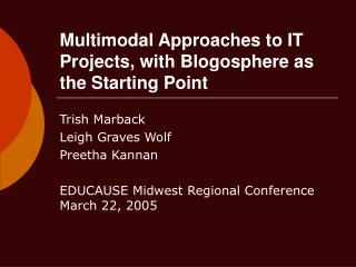 Multimodal Approaches to IT Projects, with Blogosphere as the Starting Point