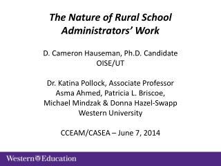The Nature of Rural School Administrators' Work