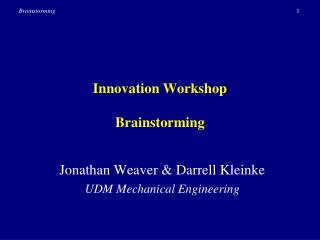 Innovation Workshop Brainstorming