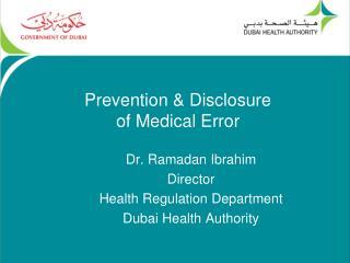 Prevention & Disclosure of Medical Error