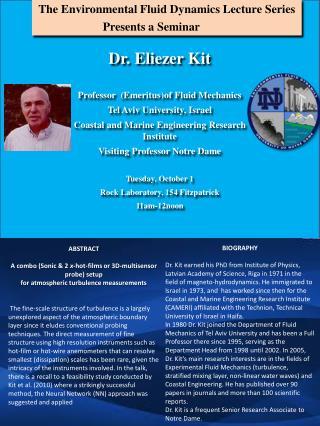 The Environmental Fluid Dynamics Lecture  Series Presents a Seminar