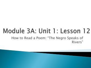 Module 3A: Unit 1: Lesson  12