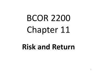 BCOR 2200 Chapter  11