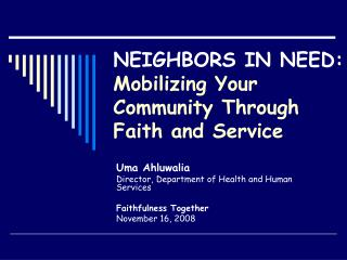 NEIGHBORS IN NEED: Mobilizing Your Community Through Faith and Service