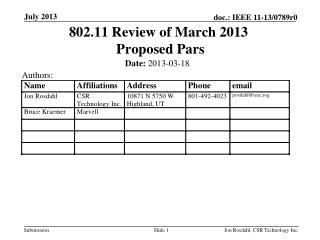 802.11 Review of March 2013  Proposed Pars