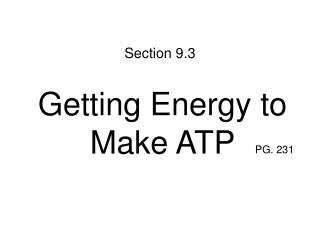 Getting Energy to Make ATP