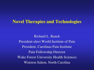 Novel Therapies and Technologies