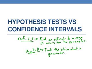 Hypothesis Tests  vs  Confidence Intervals