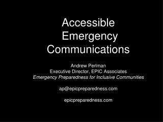 Accessible  Emergency Communications