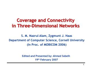 Coverage and Connectivity  in Three-Dimensional Networks