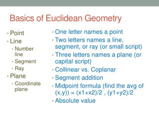 Basics of Euclidean Geometry