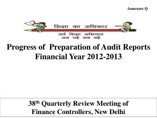 Progress of  Preparation of Audit Reports  Financial Year 2012-2013