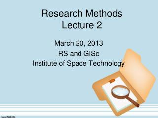 Research Methods Lecture 2