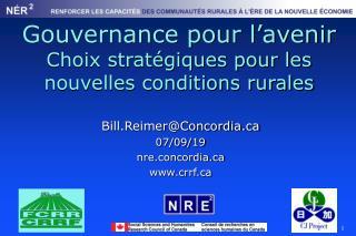 Gouvernance pour  l'avenir Choix stratégiques pour les nouvelles conditions rurales