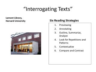 """Interrogating Texts"""