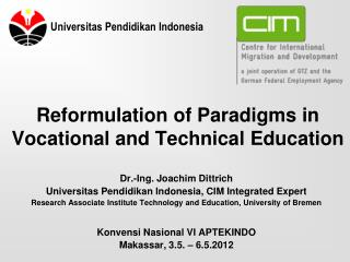 Reformulation of Paradigms in Vocational and Technical Education