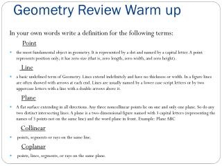Geometry Review Warm up