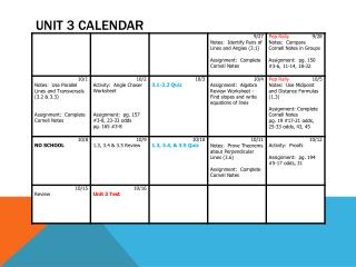 Unit 3 Calendar