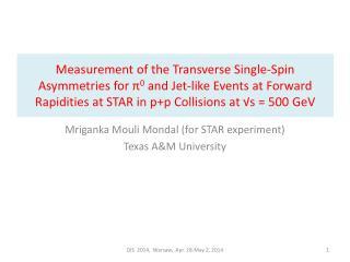 Mriganka Mouli Mondal (for STAR experiment) Texas A&M University