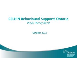 CELHIN Behavioural Supports Ontario PDSA Theory Burst