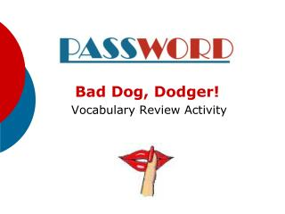 Bad Dog, Dodger  Vocabulary Review Activity