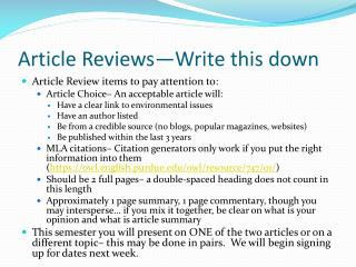 Article Reviews—Write this down