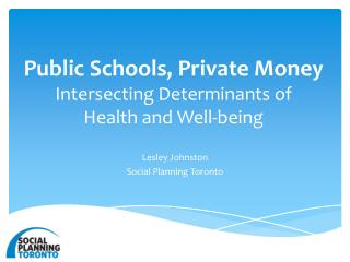 Public Schools, Private Money  Intersecting  Determinants of  Health  and Well-being