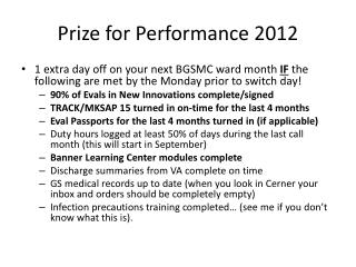 Prize for Performance 2012