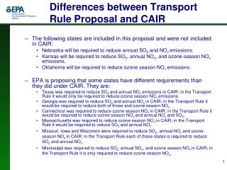 Differences between Transport Rule Proposal and CAIR