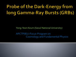 Probe of the Dark-Energy from long Gamma-Ray Bursts (GRBs)