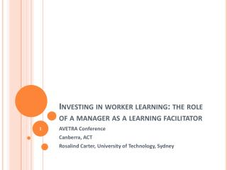 Investing in worker learning: the role of a manager as a learning facilitator