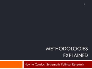 methodologies EXPLAINED
