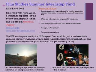 Film Studies Summer Internship Fund