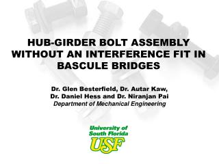 HUB-GIRDER BOLT ASSEMBLY WITHOUT AN INTERFERENCE FIT IN BASCULE BRIDGES