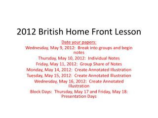 2012 British Home Front Lesson