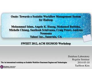 Database Laboratory Regular Seminar 2014-03-10 TaeHoon  Kim