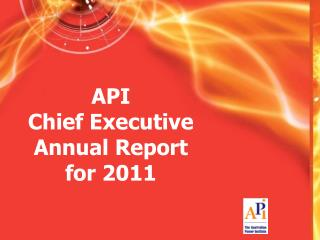 API Chief Executive Annual Report for 2011