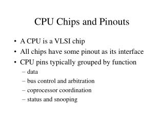 CPU Chips and Pinouts