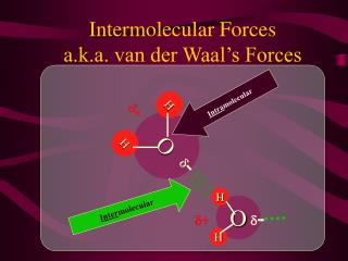 Intermolecular  Forces a.k.a. van der Waal's Forces
