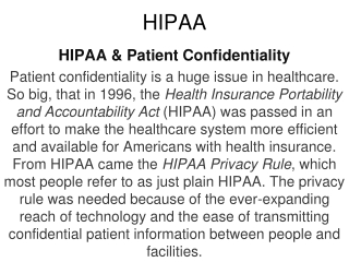 THE HIPAA PRIVACY RULE