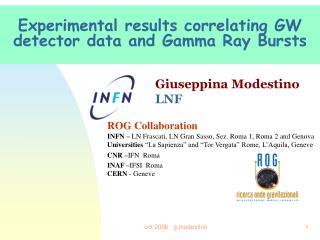 Experimental results correlating GW detector data and Gamma Ray Bursts