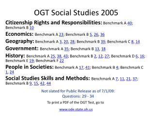 OGT Social Studies 2005