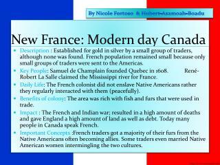 New France: Modern day Canada