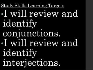 Study  Skills Learning Targets