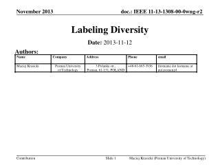 Labeling Diversity