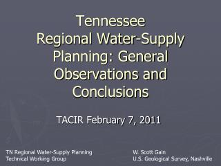 Tennessee Regional Water-Supply Planning: General Observations and Conclusions